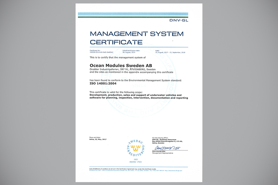 Ocean Modules ISO 14001:2015 Certified