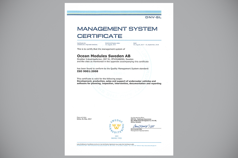 Ocean Modules ISO 9001:2015 Certified